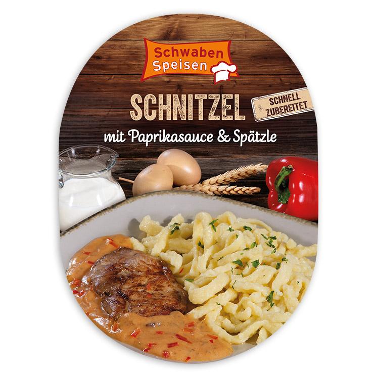 Schnitzel mit Paprikasause & Spätzle