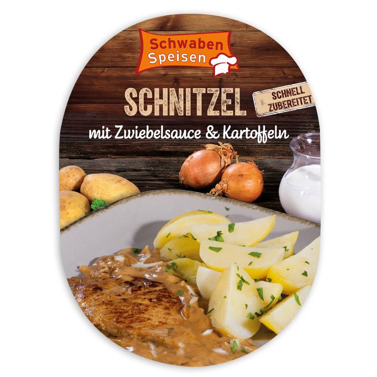 Schnitzel mit Zwiebelsauce & Kartoffeln